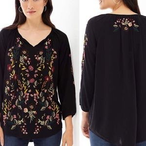 J. JILL - NWT black embroidered top